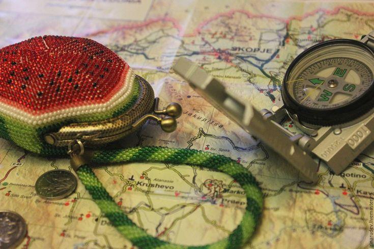 """Купить Набор для вязания бисером. Монетница """"Арбузик"""" - ярко-красный, флора, кошелек, кошелек из бисера"""
