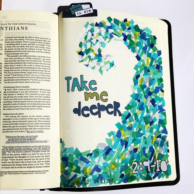 "Shanna taught us about 'layers' & this fun washi mosaic technique at the IF #dwellretreat but also about how God teaches us things in layers. We hear ideas but then they all build upon each other & form layers of truth. If you pay attention you, will notice a resounding theme. ""Take me Deeper"" has become this theme for me. I ask the Lord daily to take me deeper... #illustratedfaith #biblejournaling #icolorinmybible #journalbible #biblejournalingcommunity"