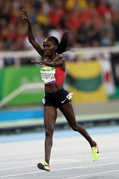 Vivian Jepkemoi Cheruiyot of Kenya celebrates winning the Women's 5000m Final…