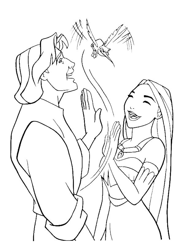 Disney Princess Rapunzel With Flynn Rider Coloring For Kids
