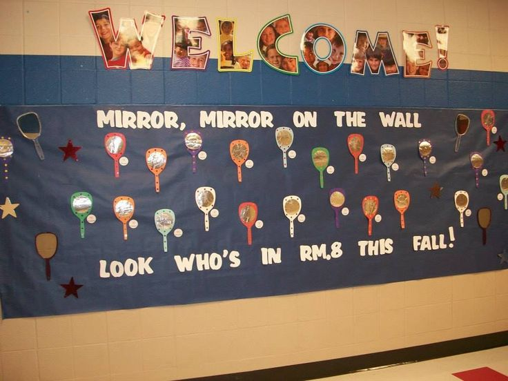 My Welcome Back to School board for my students. I used real mirrors and paper mirrors (poster board and foil) to create this board. I used navy blue as the background so I could use my white letters to spell out the 'Welcome message.'