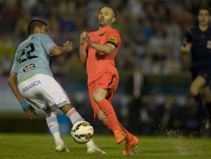 Iniesta, en el partido contra el Celta.