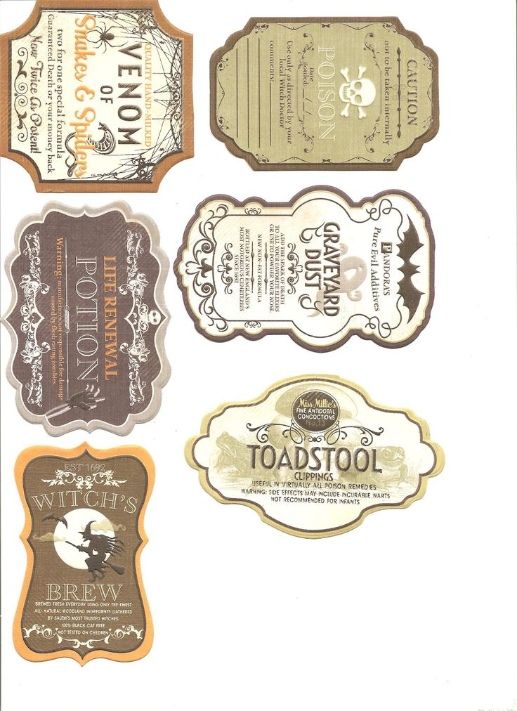 A Small Hearts Desire: Halloween Labels for Potion Bottles and Jars