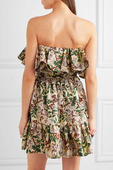 Philosophy di Lorenzo Serafini - Off-the-shoulder Floral-jacquard Mini Dress - Green - IT48