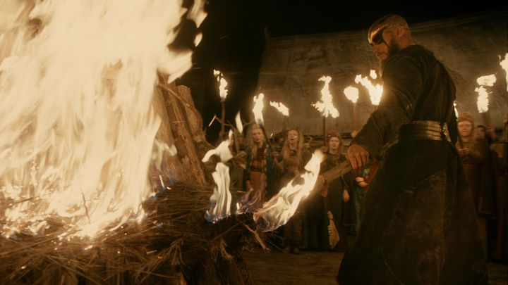 The Yule Log burns in the Great Hall in Kattegat