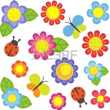 Flores do vetor, borboletas e joaninhas photo