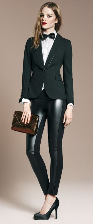 Menswear: leather pants, white button-up, black tie & black blazer