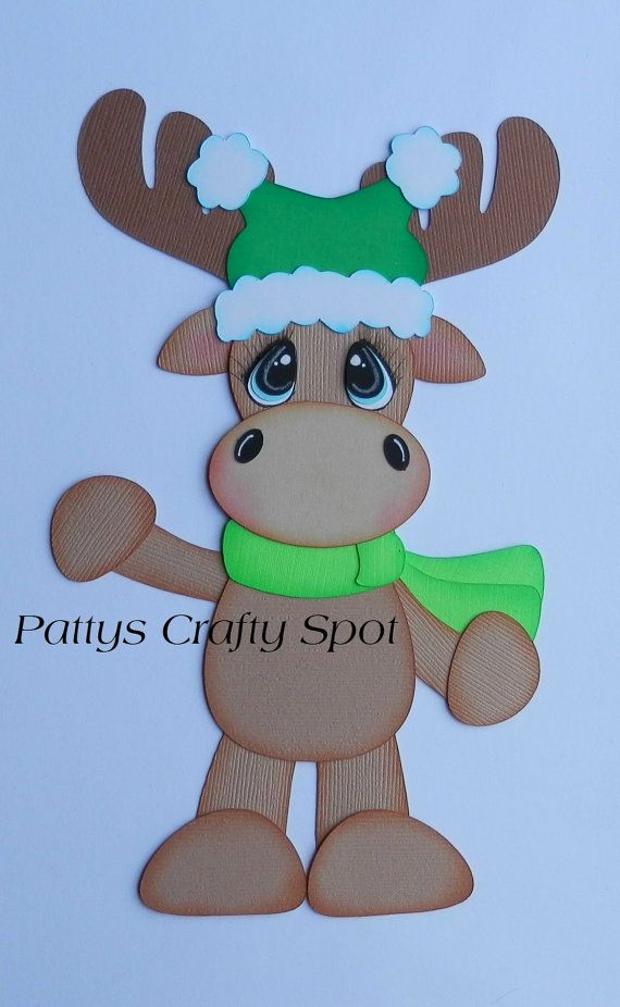 Alces del invierno de Navidad de papel Pieicng por PattysCraftySpot