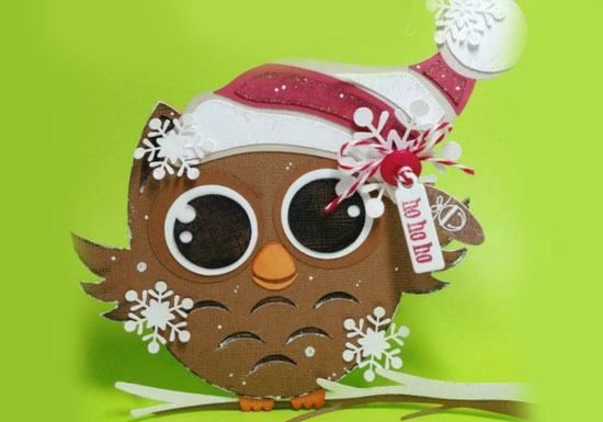 Little Owl Shaped Christmas Card | Click for 20 DIY Christmas Card Ideas for Families | DIY Christmas Cards for Kids to Make