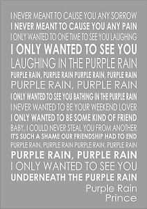 Prince Purple Rain - Lyrics Song Verse Print Canvas Word Wall Art ...