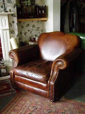 Large Vintage Laura Ashley Brown Leather Armchair Chair Lounge Furniture