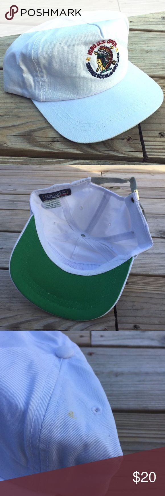 Vintage 90s 1995 US Open Strapback Hat Vintage 90s 1995 US Open Strapback Hat  Great pre-owned condition except minor spot on hat (see photo) and minor wrinkling White Stitched/embroidered design Adjustable leather/poly strap Green underbrim  . . . cap, hat, tennis, fan, gear, fangear, vtg, 1990s Accessories Hats