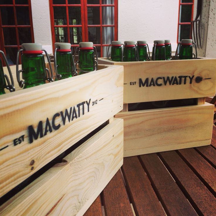 Homebrew beer crates made from recycled pallet wood.