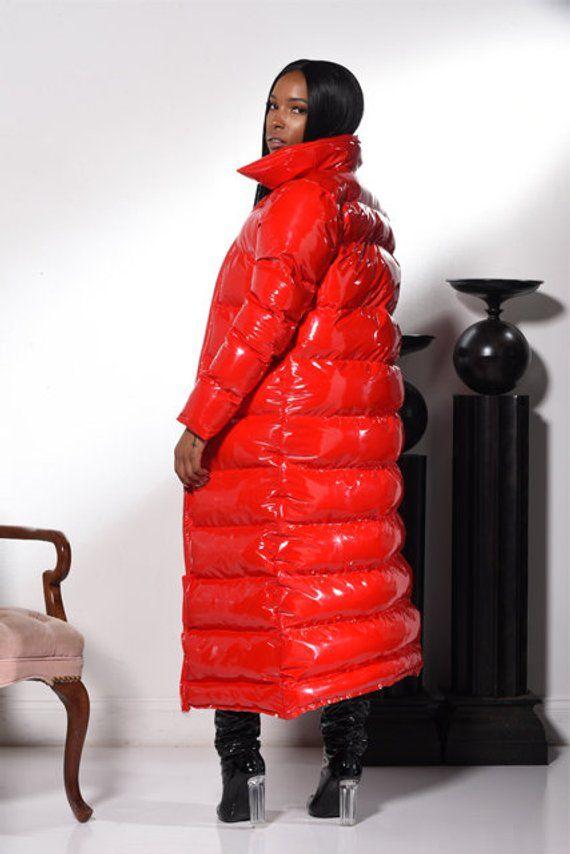 Down Puffer Shiny JacketEtsy Coat Winter PVCVinyl Long CBerxWdo