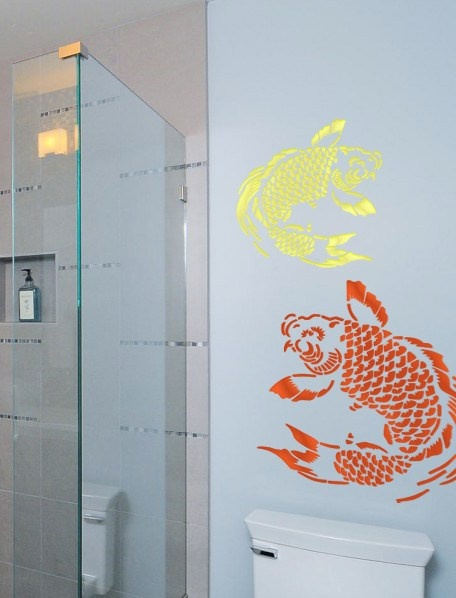 Asian koi fish sea creature animal wall geometric old for Koi home decor