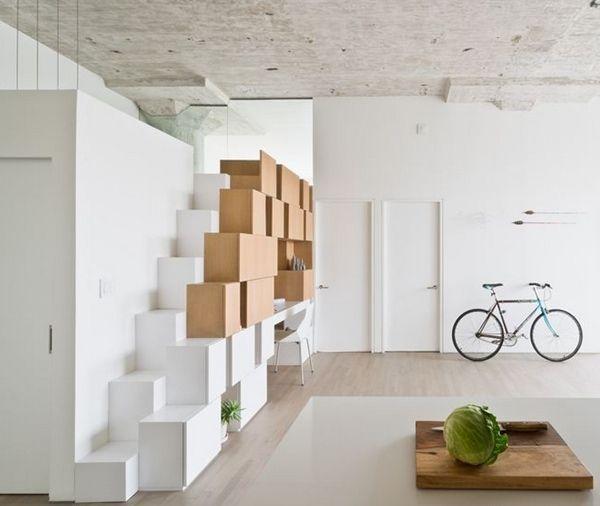 Inspiration / Escalier aménagement autour de cubes de rangement