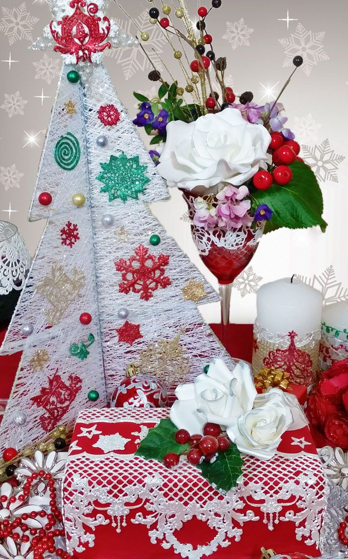 Full Christmas table setting all made beautifully with edible lace