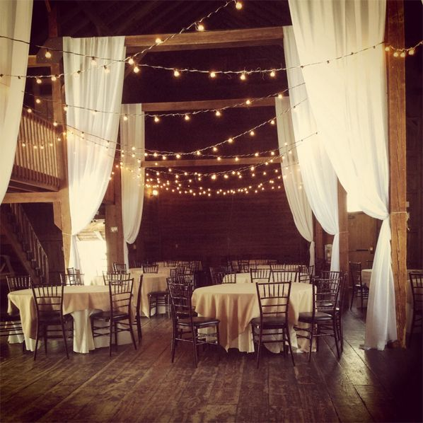 The Barn at Wesleyan Hills in Middletown CT#wedding decorations #reception #organza draping