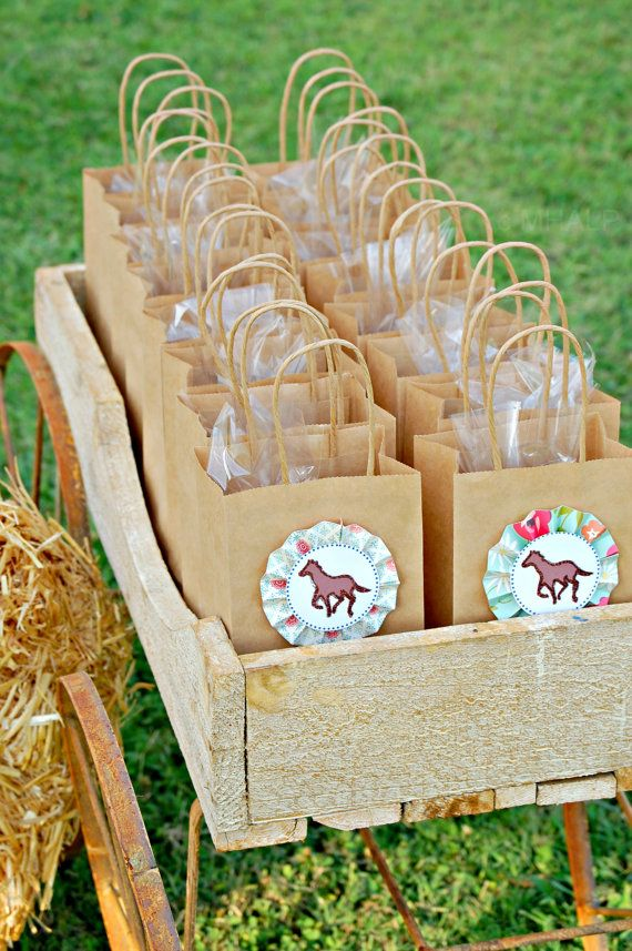 Use paper bags for goodie bags. Have a horse medallion ribbon on the front.