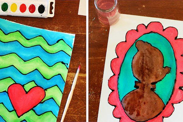 Homemade watercolor glue art for kids by eighteen25 for Arts and crafts for brownies