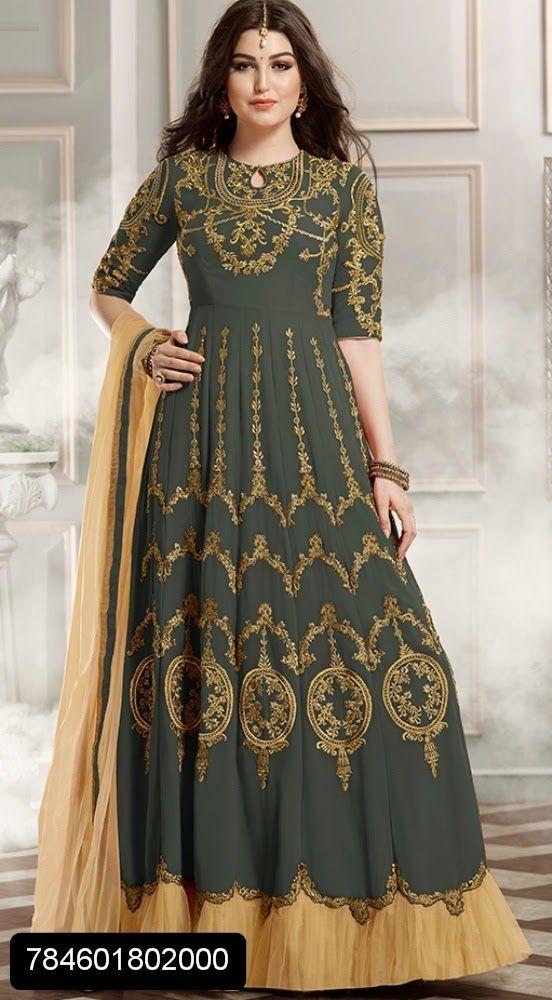 Mehendi full golden resham work embroidered gown style floor length suit