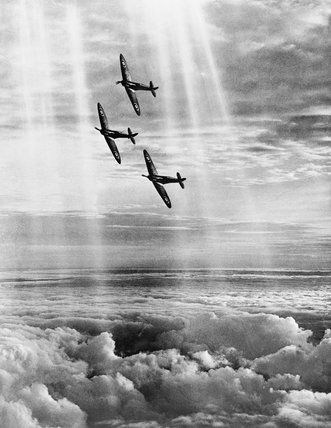 Royal Air Force official photographer -- Three Supermarine Spitfire Mk.I aircraft of 19 Squadron. -- High quality art prints, canvases -- Imperial War Museum Prints