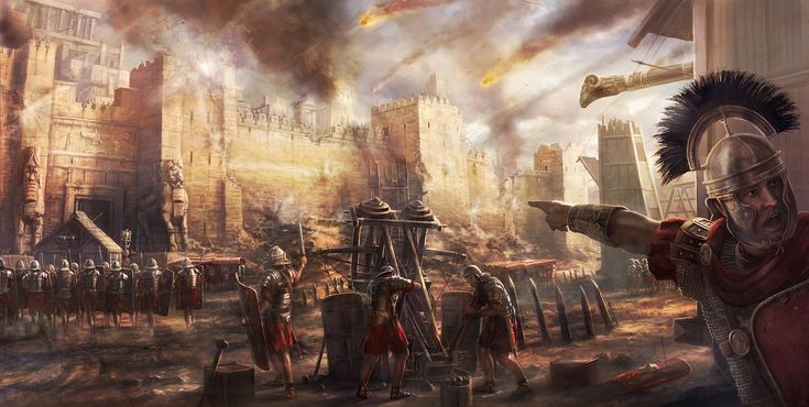 An image illustrating what a Roman artillery attack might have looked like. Centre is a ballista arrow-throwing device, in use between the 3rd century BCE and 4th century CE in Roman warfare.