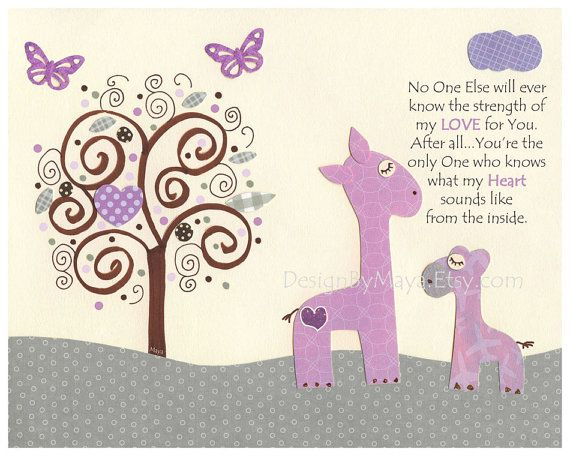 Baby girl room art, baby girl Room Decor, Nursery wall Art print, lilac, gray and lilac, purple, lavender, baby giraffe