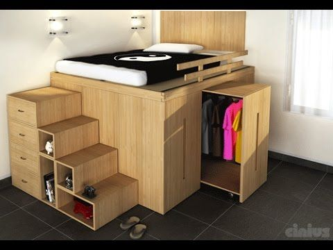 Loft Bed made from IKEA kitchen cabinets - YouTube