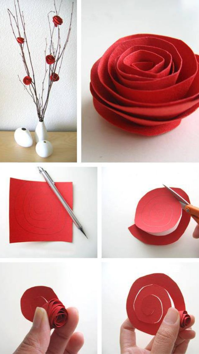 How to make roses with cardboard. Looks great for deco and no need to water!