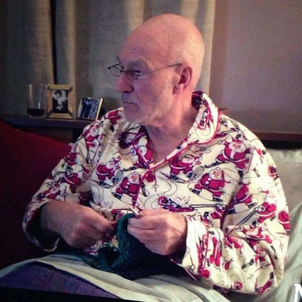 Sir Patrick Stewart. Knitting. In Santa Jammies.