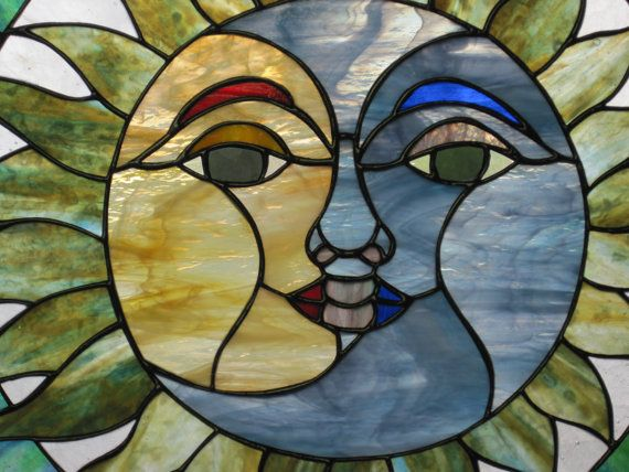 Stained Glass Sun and Moon Face by RenaissanceGlass on Etsy, $300.00