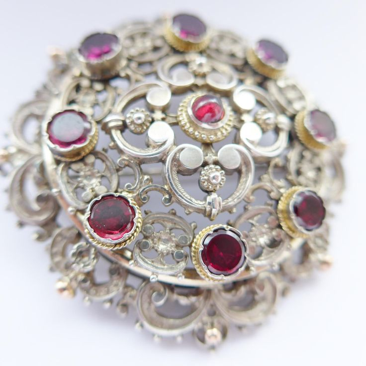 Large Silver Austro Hungarian Brooch Set With Garnets C.1880 With Vienna Marks by rubyandjules on Etsy