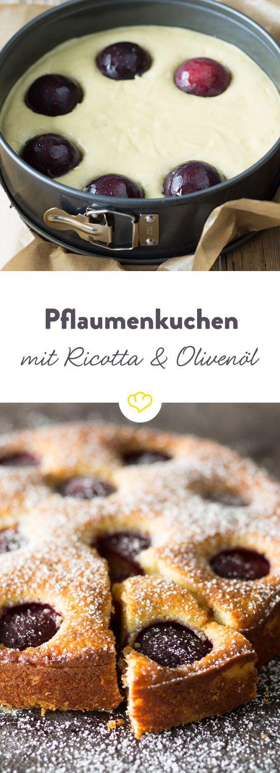 Pflaumenkuchen mit Ricotta und Olivenöl