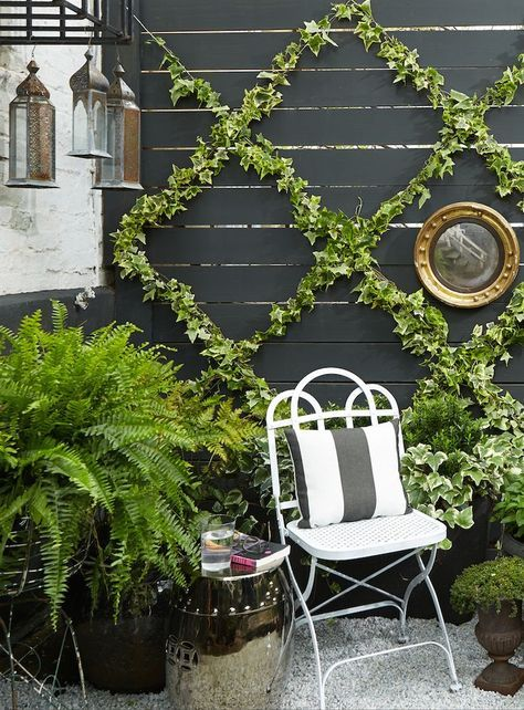 Potted plants and a vertical ivy-covered trellis create a lush garden on a patio that's short on space.