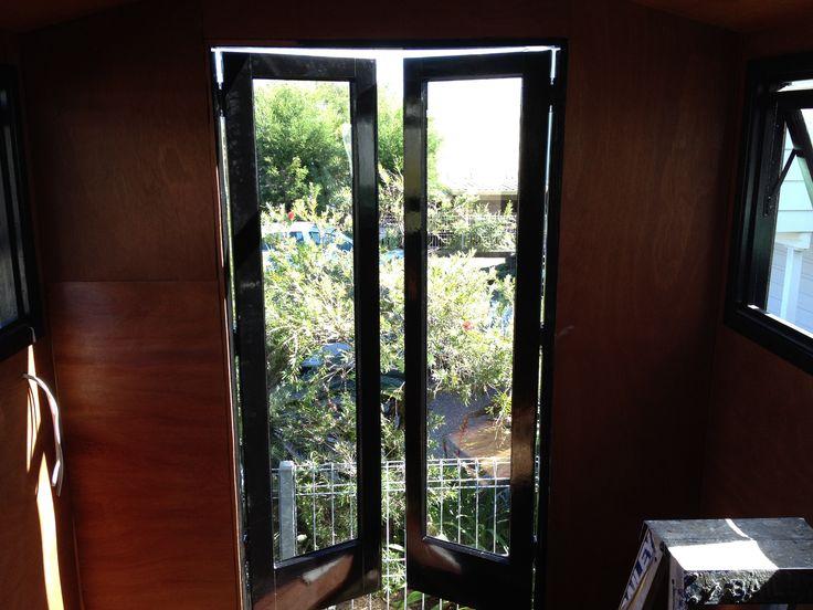 Tiny house interior french doors
