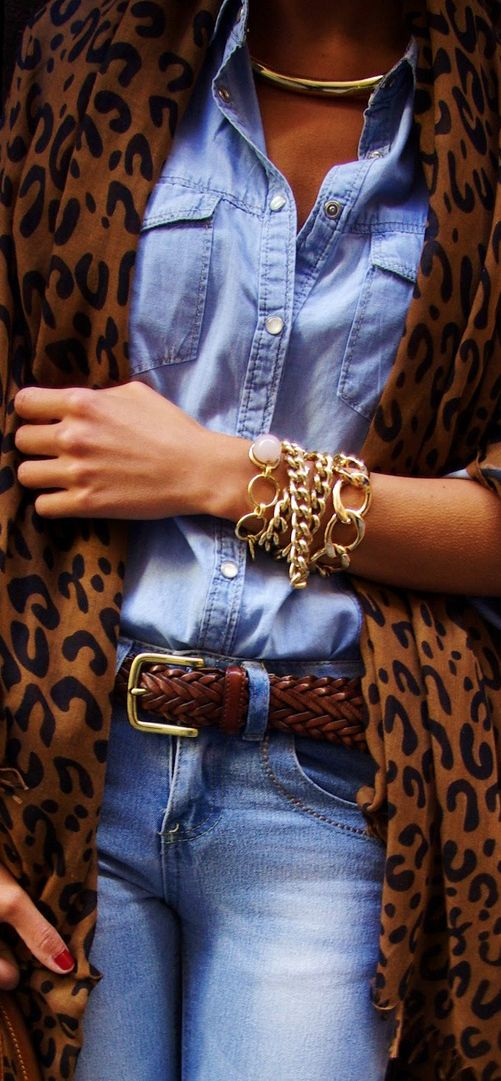 Leopard & Denim. Sexy.