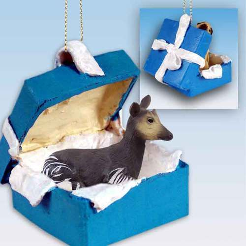 Okapi Gift Box Blue Ornament