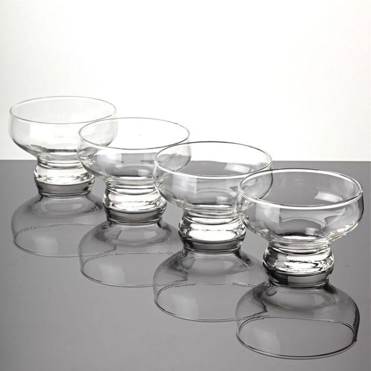 4 Dessertgläser Dessertschalen Glas Schälchen Eisschalen schlicht modern W9E