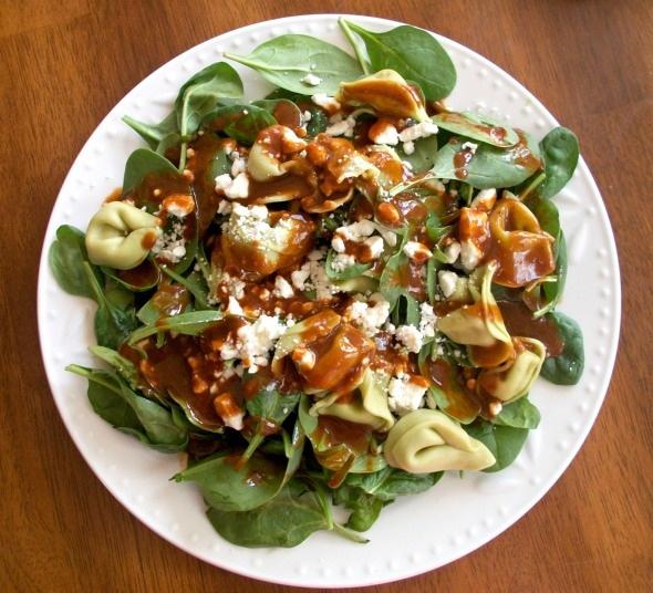 Tortellini Spinach Salad with Balsamic-Tomato Vinaigrette