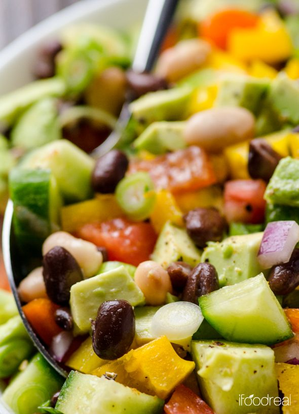 Mexican Bean Salad Recipe is a healthy vegetable salad recipe with beans, cilantro and cumin. Can be made ahead and is perfect for potlucks. | ifoodreal.com