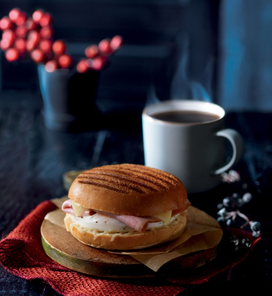 New Ham & Gruyere Breakfast Sandwich at Panera Bread: Smoked, lean ham, freshly cracked egg, Gruyere & white cheddar cheese with sun-dried tomato ale mustard, grilled on a soft roll.