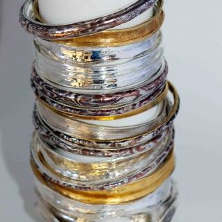 Jenny Whitmore Jewellery Mokume Gane Bangles  Mokume Gane  Fine Silver & Copper $450- to $550- 24ct pure gold is available and can be made to order
