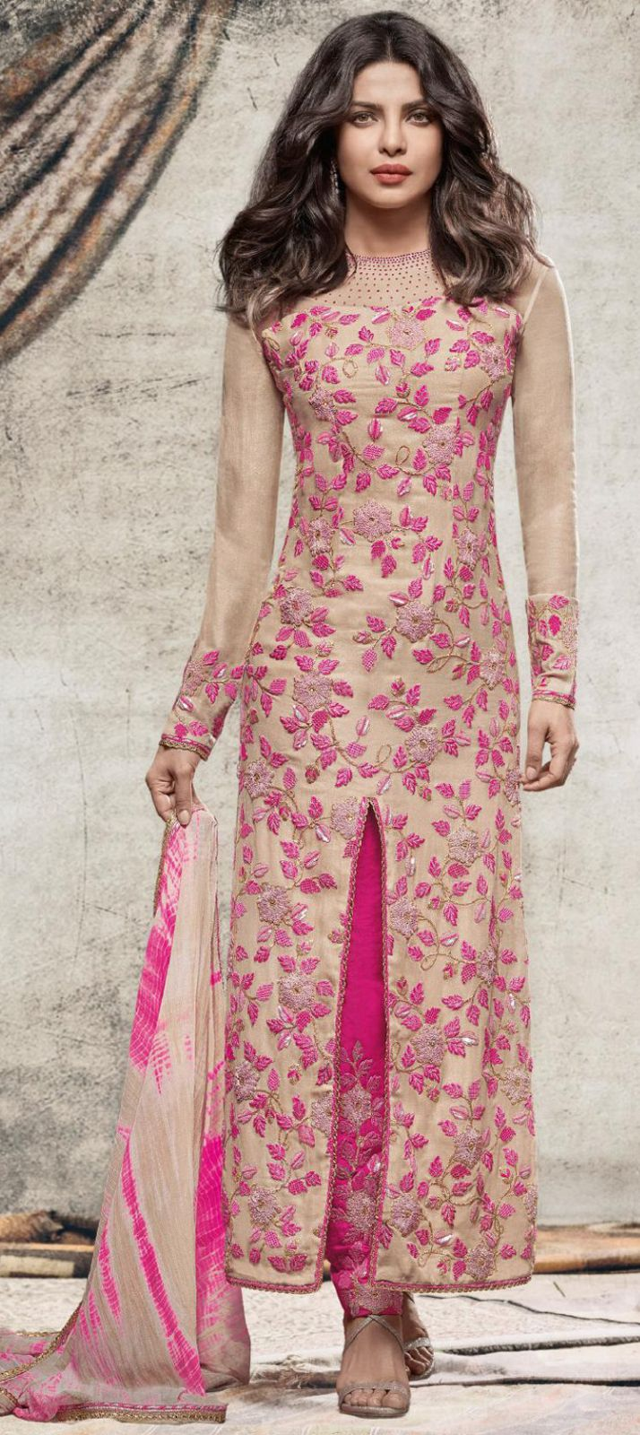 490818: Green, Pink and Majenta color family semi-stiched Bollywood Salwar Kameez .