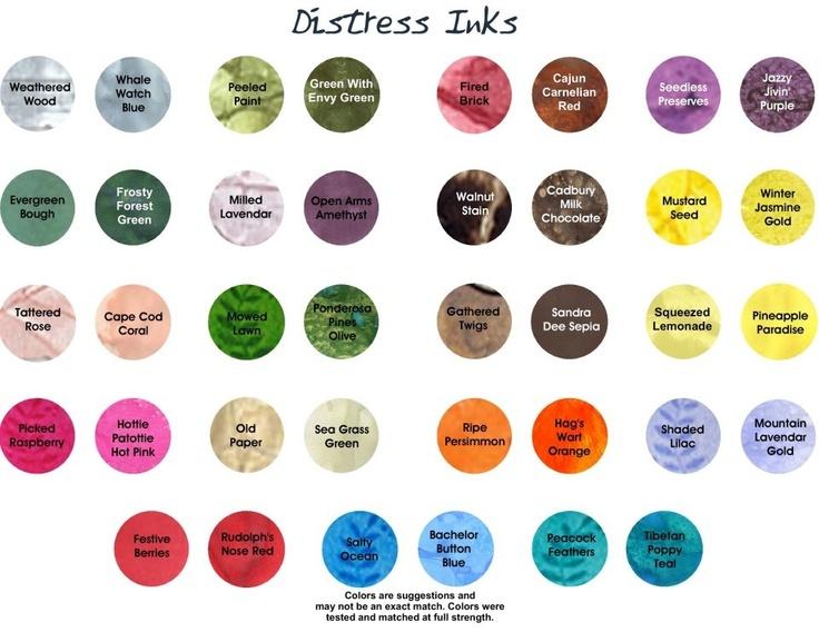 Lindys Stamp Gang - Distress ink color match charts http://lindystampgang.blogspot.com/p/dye-ink-color-match-charts.html?m=1