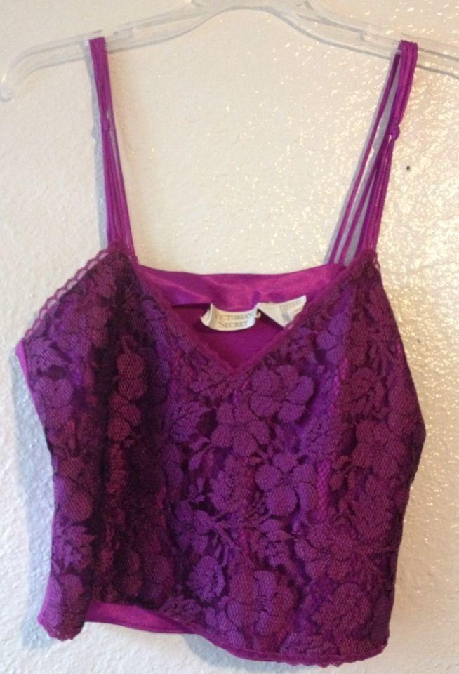 Vtg Victoria's Secret Hot Purple Cami Top Tank Black Lace Lingerie Gold Label M #VictoriasSecret