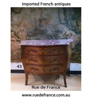 ANTIQUE FRENCH MARQUETRY COMMODE CHEST OF DRAWERS WITH MARBLE