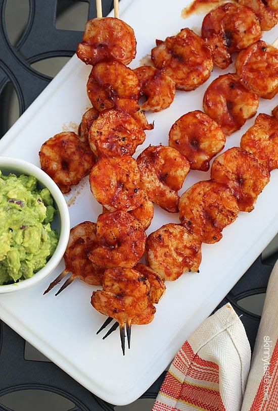 These easy grilled shrimp skewers are quick to make, finished with homemade BBQ sauce