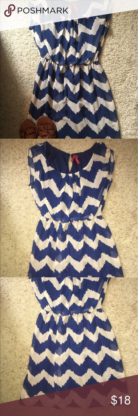 Blue & Cream Chevron Print Dress Blue and cream chevron print dress with waistband Red Camel Dresses Mini