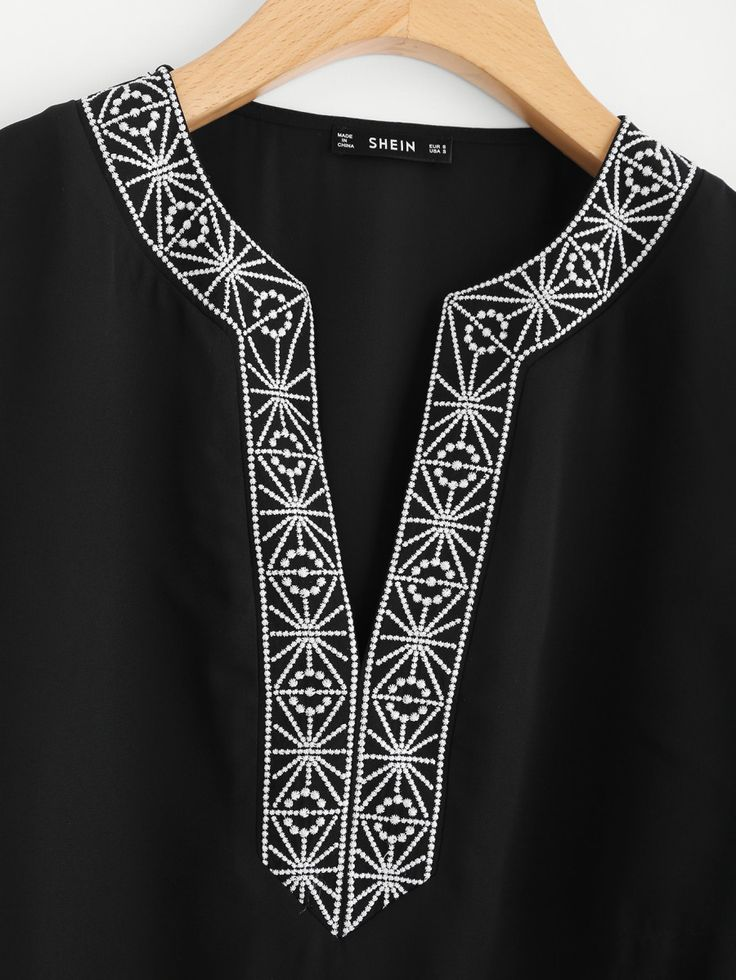 Shop Embroidery Tape Trim Tunic Blouse online. SheIn offers Embroidery Tape Trim Tunic Blouse & more to fit your fashionable needs.